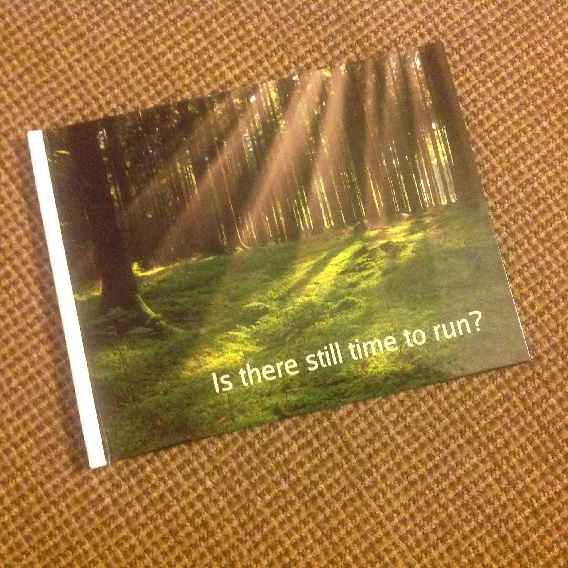 "Photo of ""is there still time to run?"" waiting room therapy book by Bergen and Associates Counselling"