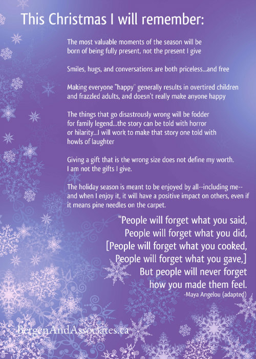 Poster for fridge by Bergen and Associates counselling promoting a sane, authentic, and imperfect Christmas