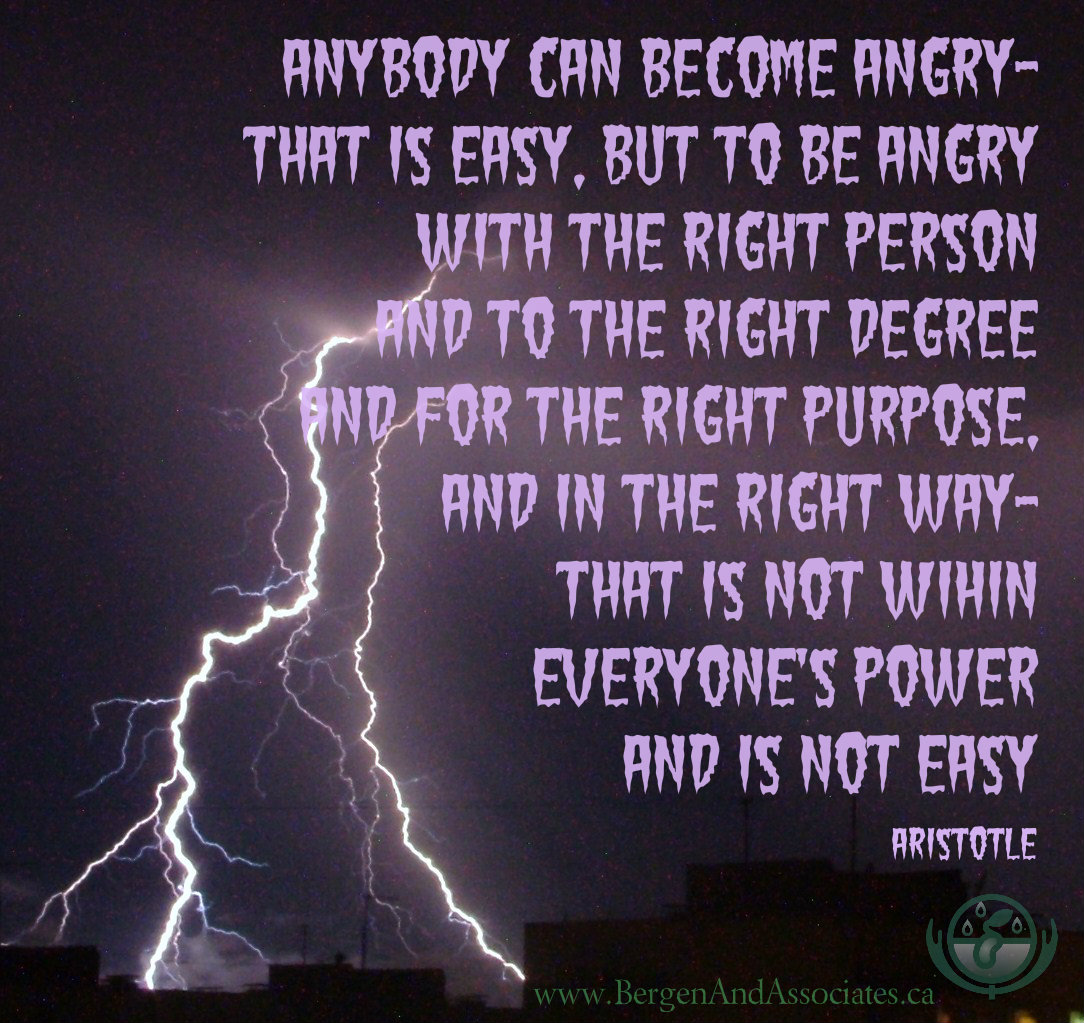quote from Aristotle: Anybody can become angry - that is easy, but to be angry with the right person and to the right degree and at the right time and for the right purpose, and in the right way - that is not within everybody