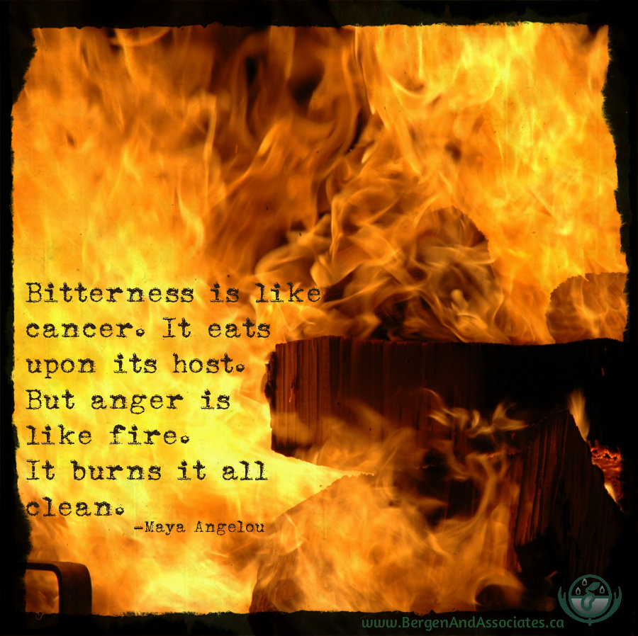 Bitterness is like cancer. It eats upon its host. But anger is like fire. It burns it all clean