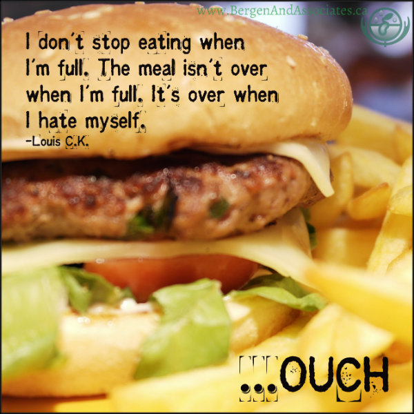 Quote on poster for emotional eating in Winnipeg that looks at self hatred around overeating for emotional reasons