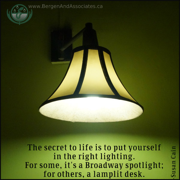 "Quote by Susan Cain on a poster by Bergen and Associates:""The secret to life is to put yourself in the right lighting. For some, it"