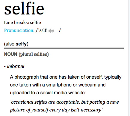 Definition of selfie according to Oxford Dictionary