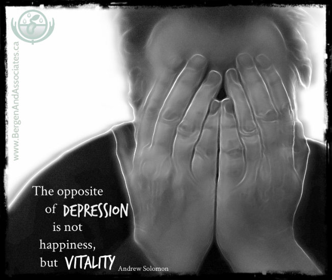"Quote by Andrew Solomon ""The opposite of depression is not happiness but vitality"" Poster by Bergen and Associates"
