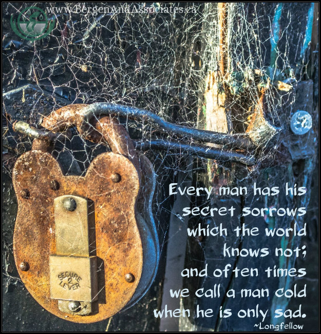 Poster: Every man has his secret sorrows which the world knows not; and often we call a man cold when he is sad. Quote by Longfellow, Poster by Bergen and Associates Counselling in Winnipeg