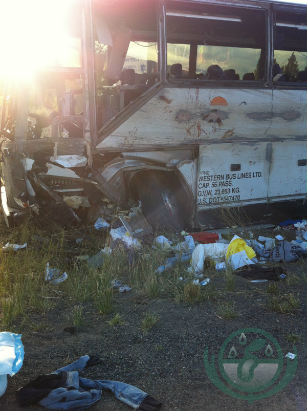 The front of the bus after the Super Vacation bus tour flipped on the Coquihalla Highway in British Columbia