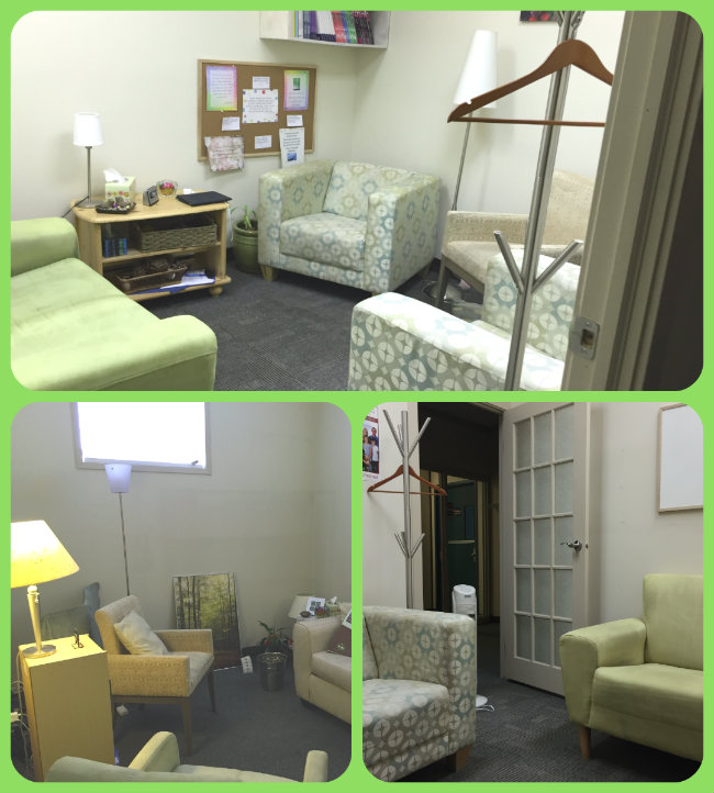 Photos of Bergen and Associates Counselling temporary offices with furniture set up for counselling in alternate offices down the hall