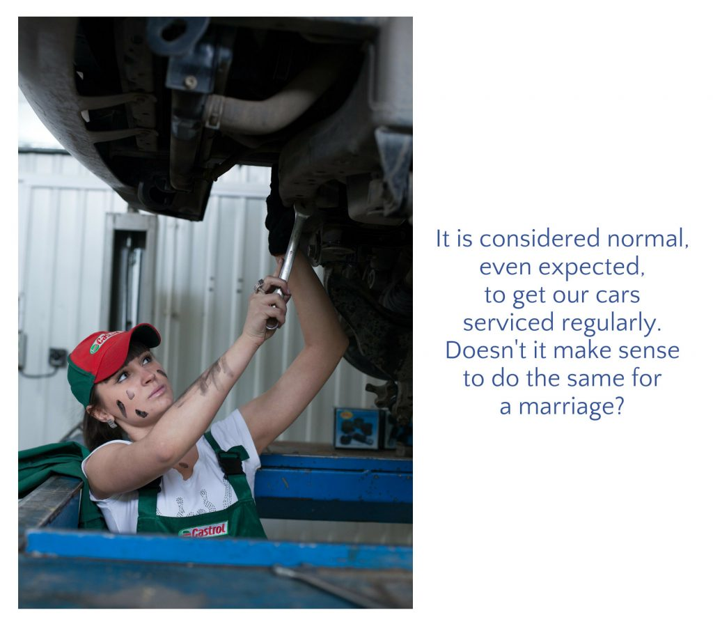 "Picture of a woman fixing a vehicle with quote: ""It is considered normal, even expected, to get our cars serviced regularly. Doesn't it make sense to do the same thing for our marriage?"" On blog featuring a marriage checkup program."