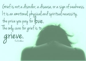 Earl Grollman says so well: Grief is not a disorder, a disease, or a sign of weakness. It is an emotional, physical and spiritual necessity, the price you pay for love. The only cure for grief is to grieve.