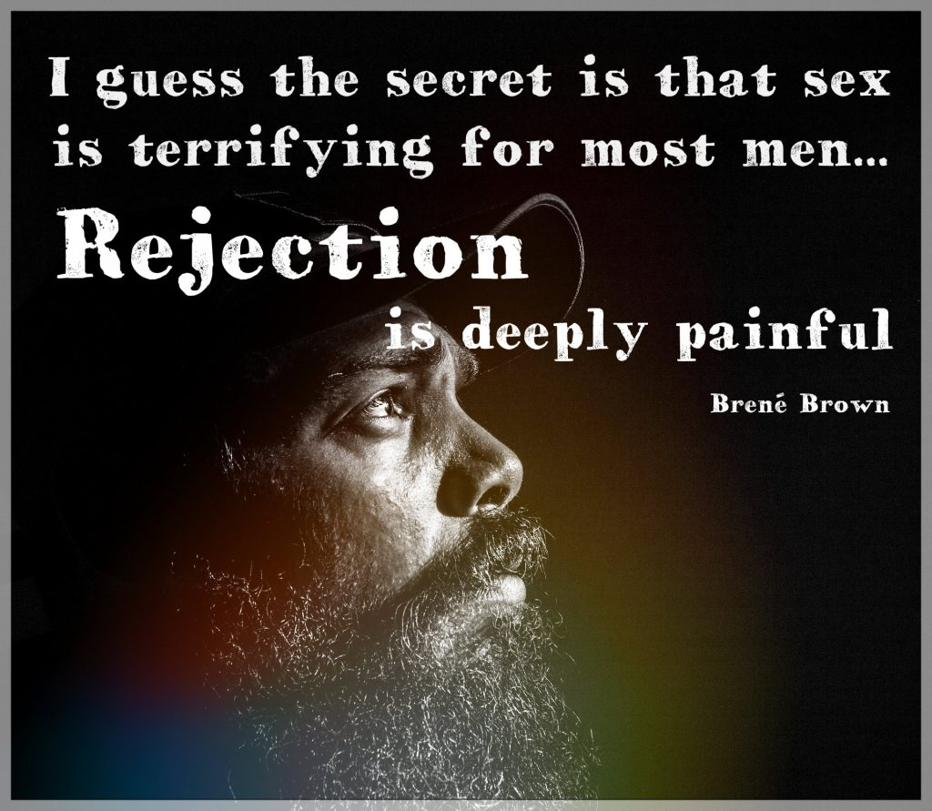 Bree Brown quote. I guess the secret is that sex is terrifying for most men. Rejection is deeply painful