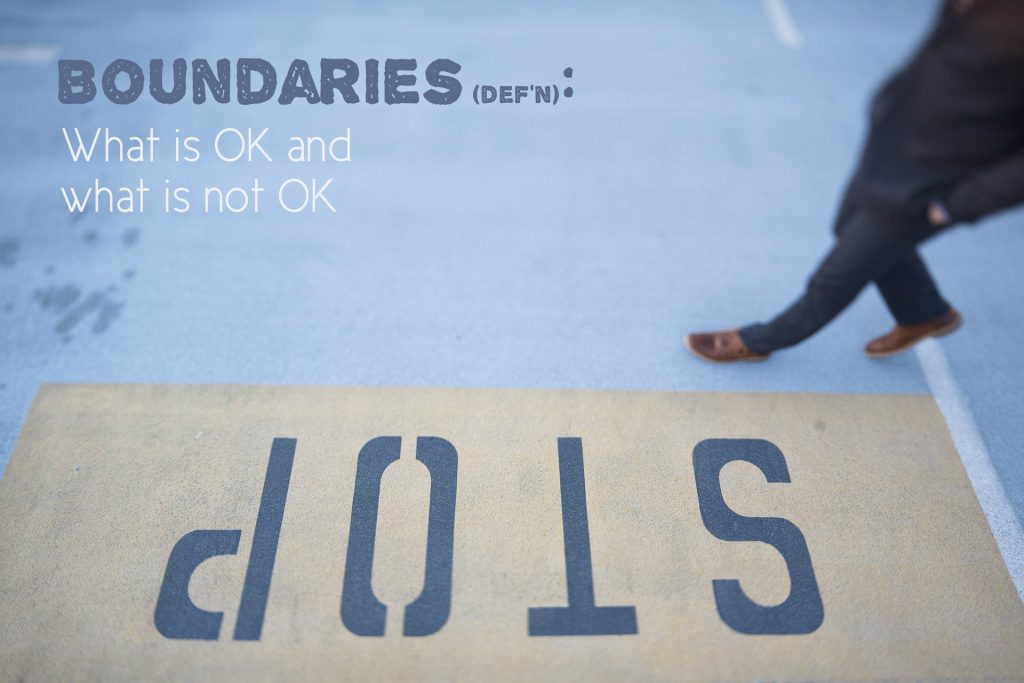 Boundaries definition: What is OK and what is not OK. Poster on background of stop sign with a foot walking
