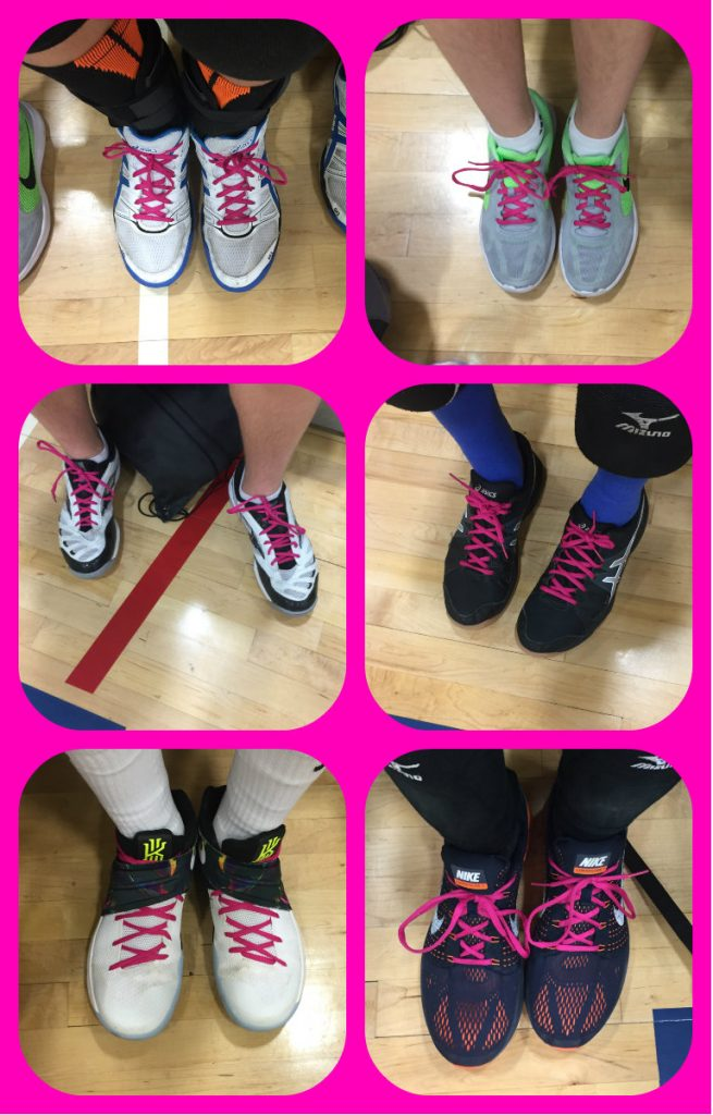 Pink shoelaces from fellow members of JTM's volleyball team to honour the memory of his mother.