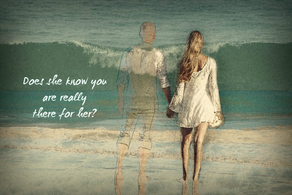 Does your wife know you are really there for her? Quote on picture of woman with fading man on beach.