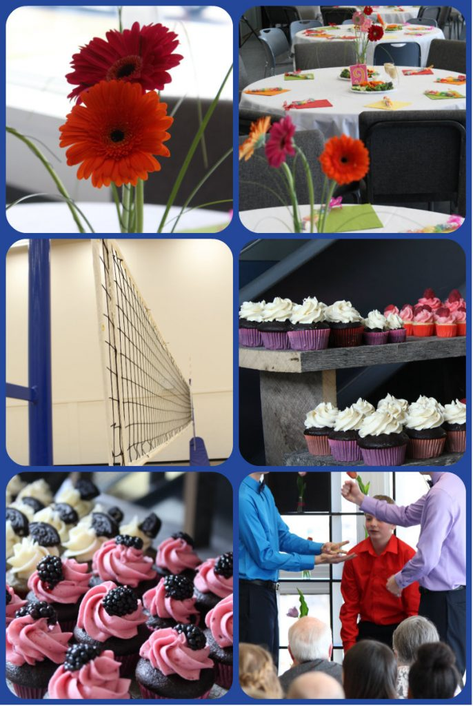 Collage of flowers volleyball cupcakes and rock/paper/scissors of Wedding of Carolyn Klassen and Husband 2 years ago