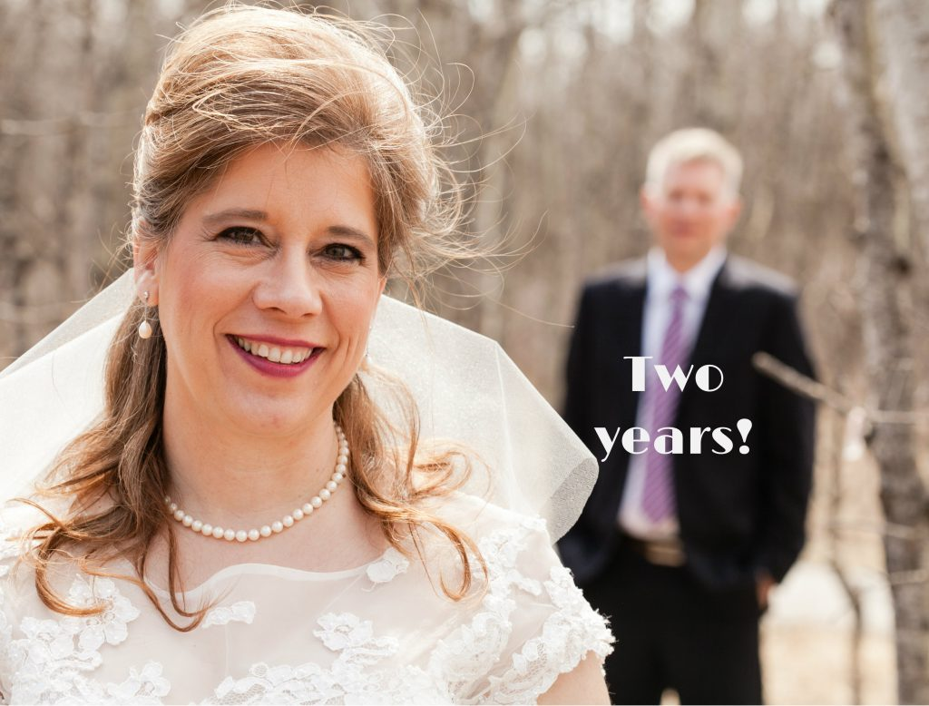 Two years. Wedding picture of CArolyn Klassen with Husband two years ago.