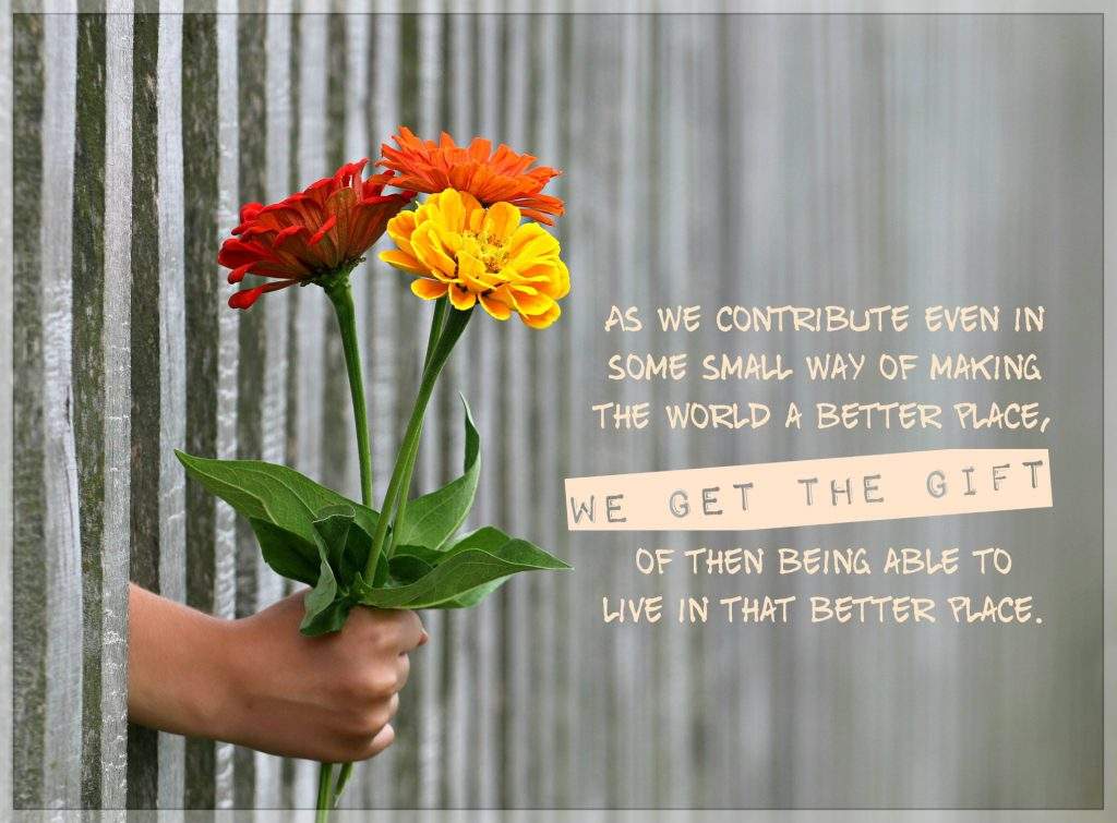 As we contribute even in some small way of making the world a better place, we have the gift of then being able to live in that better place. on background of bouquet of flowers being handed through a fence as a gift