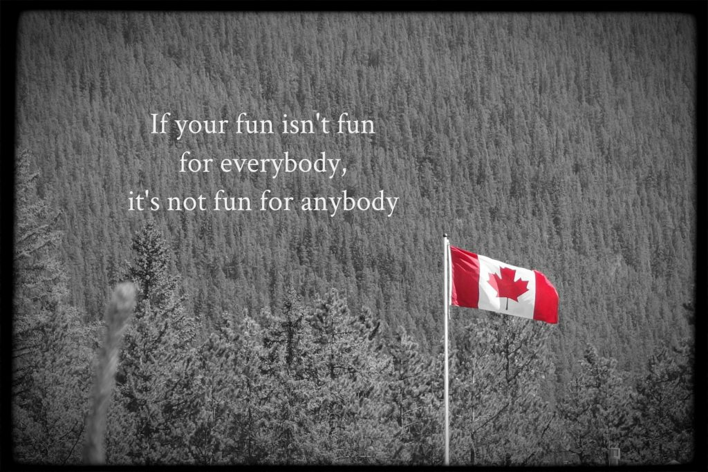 If your fun isn't fun for everybody, it's not fun for anybody. Blog written about 150th Canada Day birthday celebration to acknowledge colonization and indigenous suffering