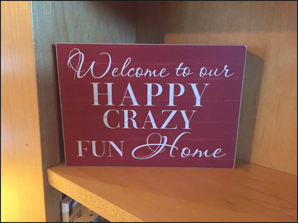 """Picture of an art piece that says: """"Welcome to our happy crazy fun HOme"""