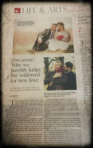 Picture of globe and mail article featuring Carolyn Klassen and her husband because they married 13 months after his wife died.