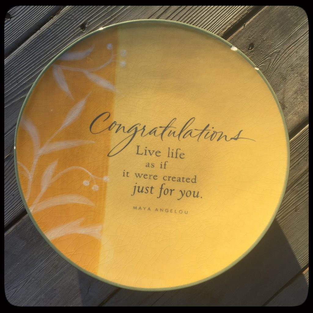 Our first special plate with quote by Maya Angelou, used for a long time by us Bergens. On Conexus Counselling blog