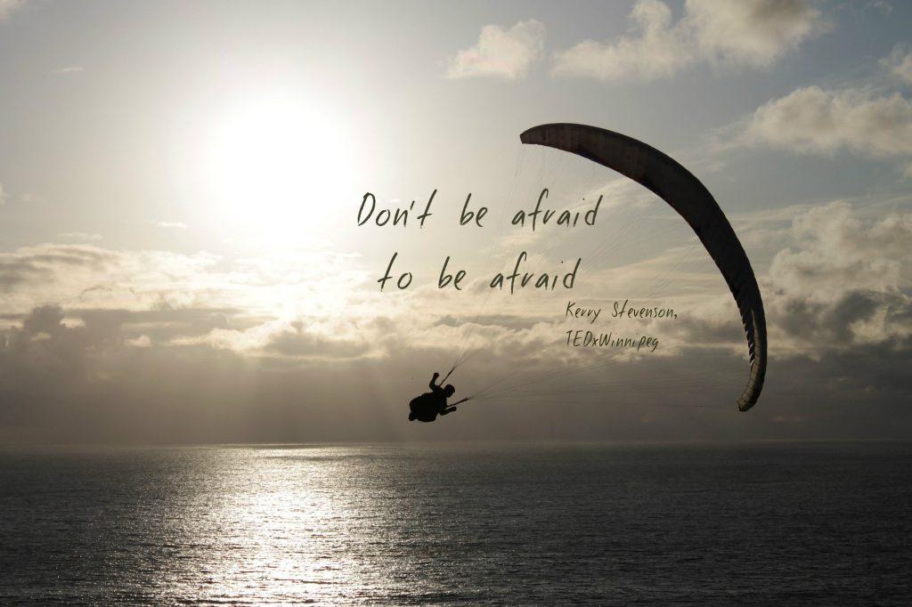 Don't be afraid to be afraid. Kerry Stevenson, TEDxWinnipeg 2018 speaker team on blog about zielschmerz