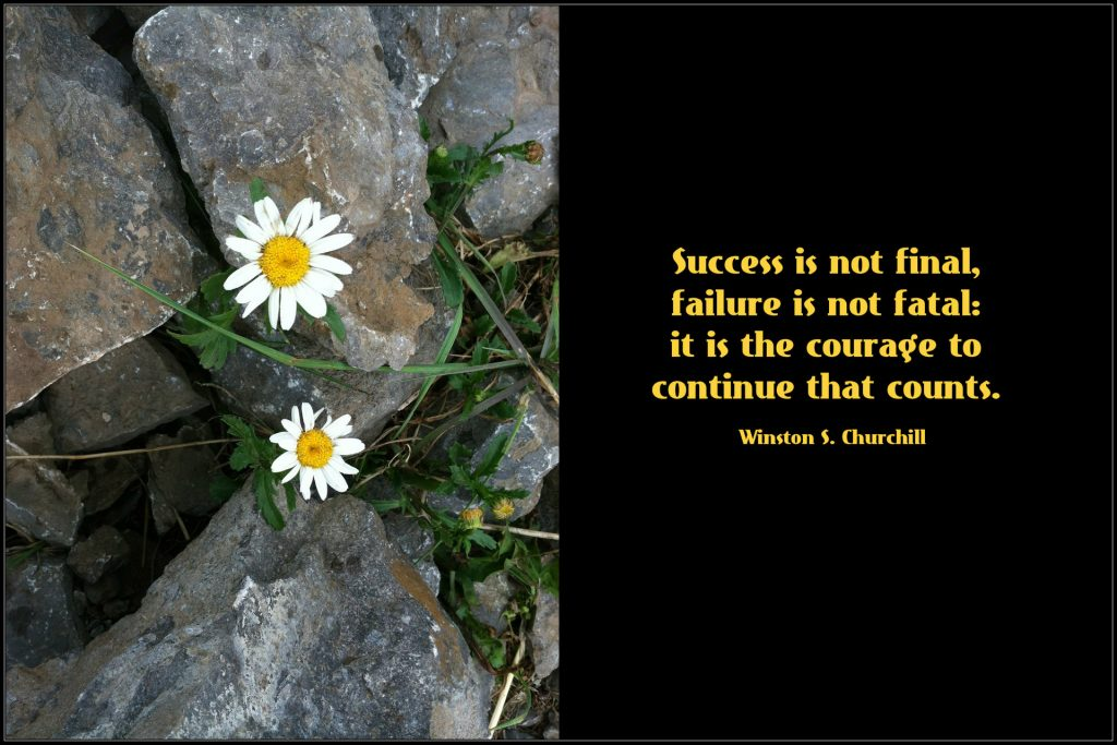 On blog about return to therapy: Success is not final, failure is not fatal: it is the courage to continue that counts.