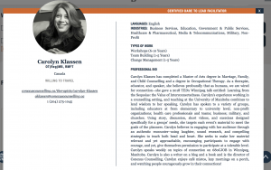 Carolyn Klassen is a certified Dare to Lead facilitaor, a book about brave leadership by Brené Brown. This is a screen shot of her profile on the certified dare to lead professionals page.