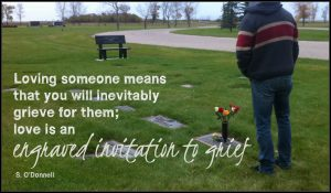 loving someone is an engraved invitation to grief on blog about visiting my husband's wife's grave