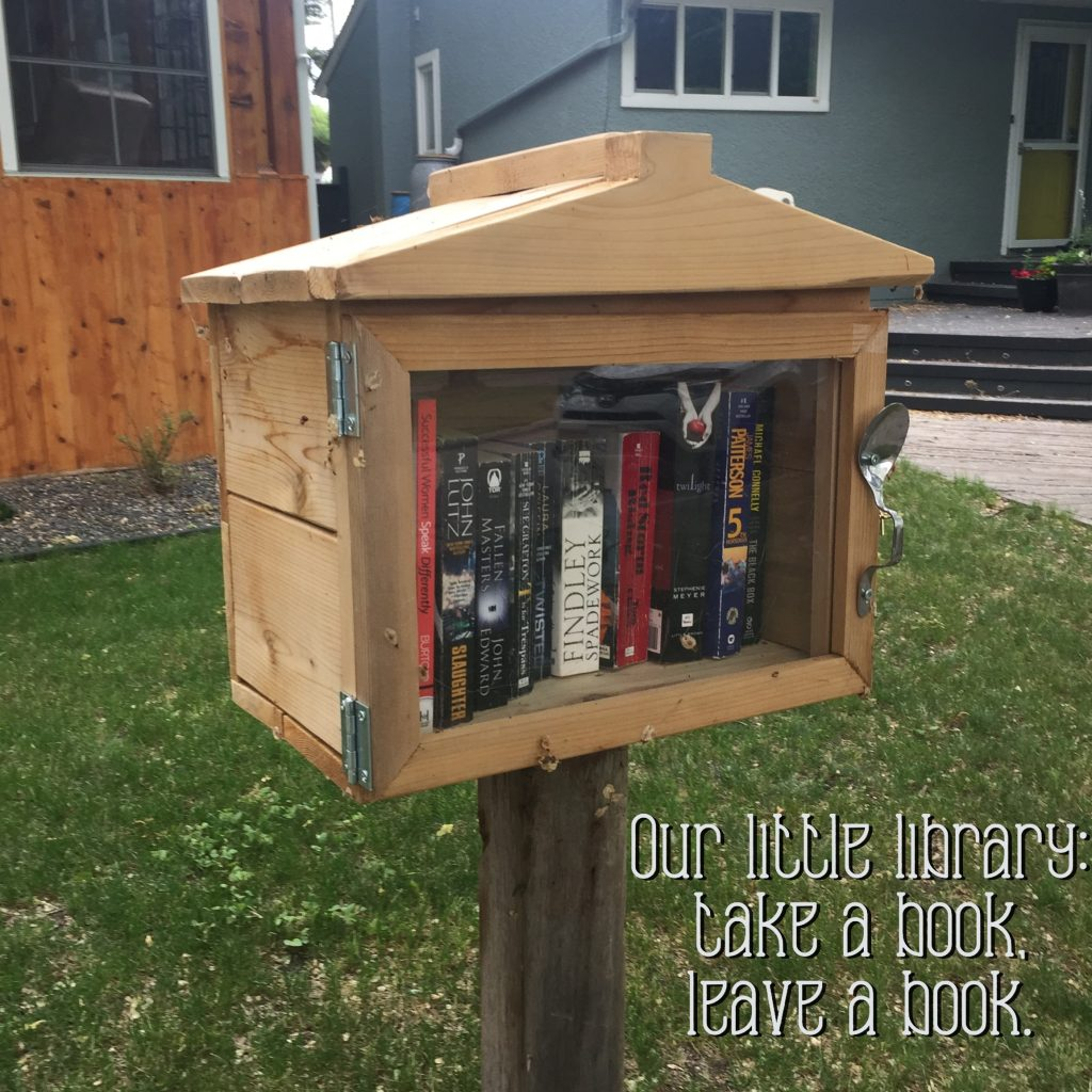 Our little front yard mini-library: take a book, leave a book.