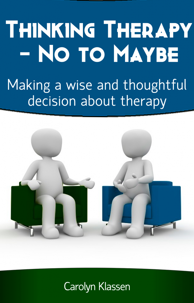 Thinking Therapy--No to Maybe book has just launched! This is the cover of the book: 2 people talking to each other seated in chairs