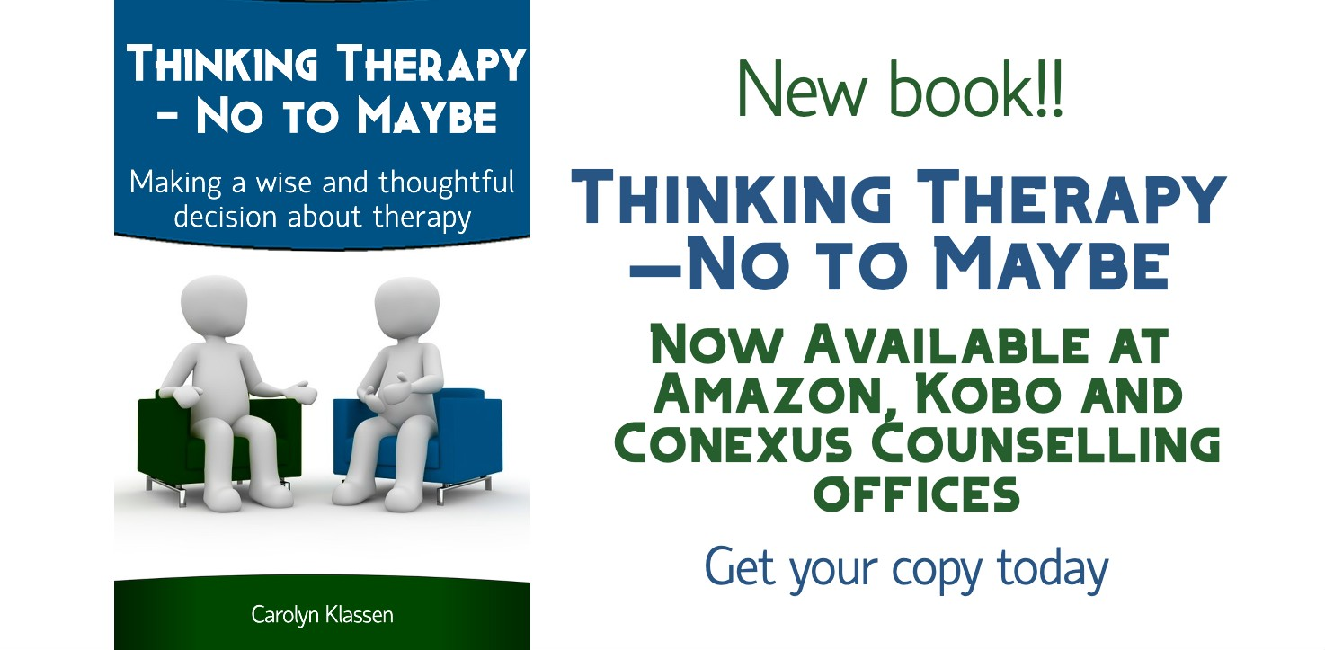 New Book: Thinking Therapy--No to Maybe now available on Kobo and Amazon
