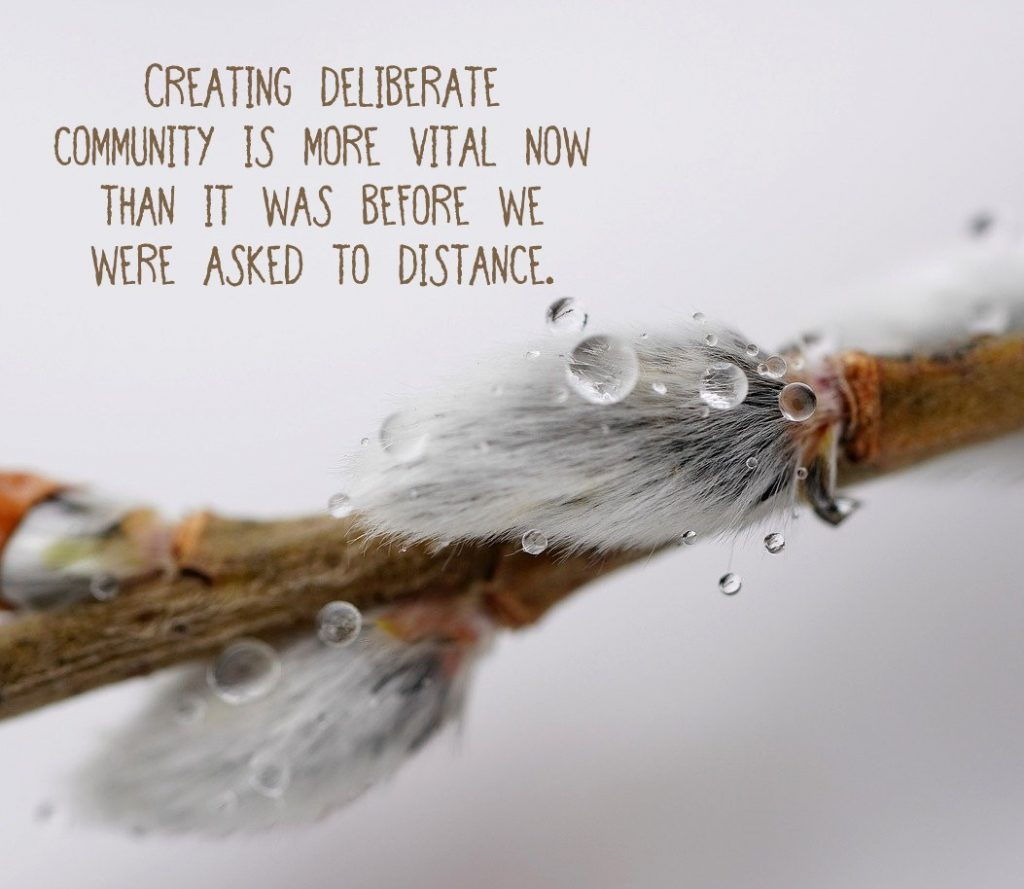 Creating deliberate community is more vital now than before we were asked to create distance