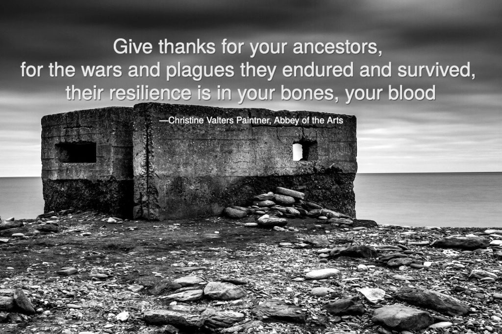 Give thanks for your ancestors, for the wars and plagues they endured and survived, their resilience is in your bones, your blood, Paintner