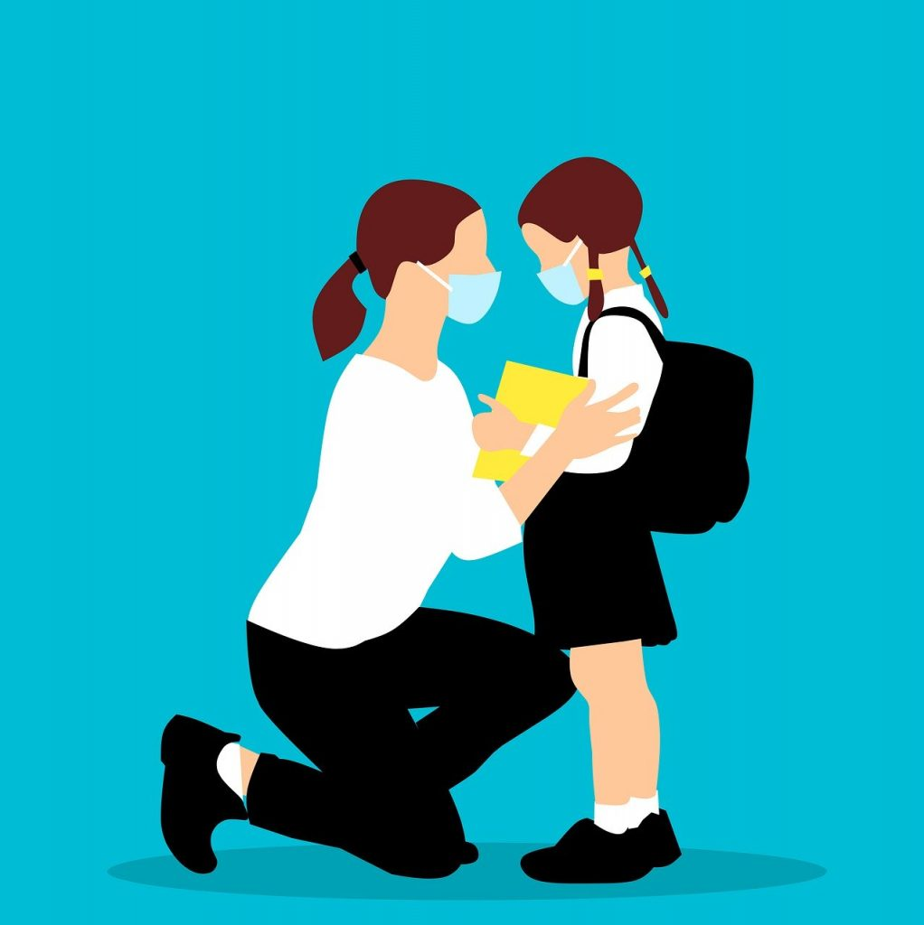 drawing of masked mom looking eye to eye with masked daughter with backpack. Parents, this is hard.