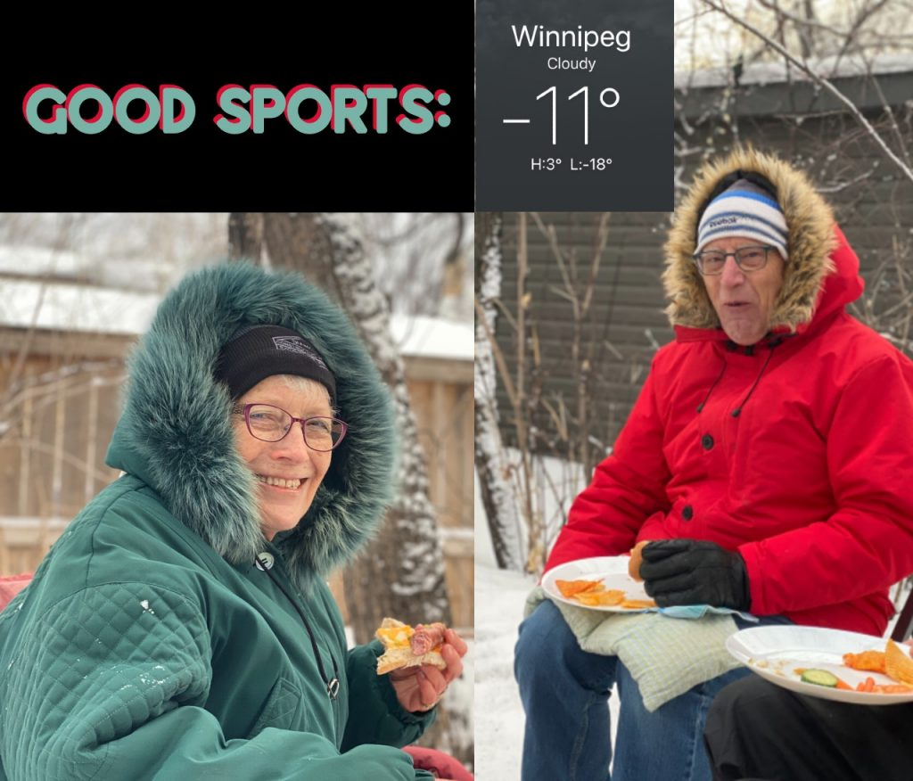 My parents--hardy folk--on a cold day outside at a wiener roast. On a blog about the day the piano was sold--the last song was played.