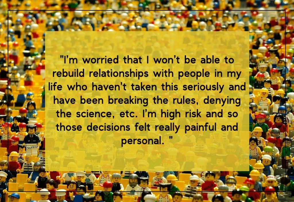 I'm worried about rebuilding relationships with people who have been breaking the rules. On article about post COVID-19 fear