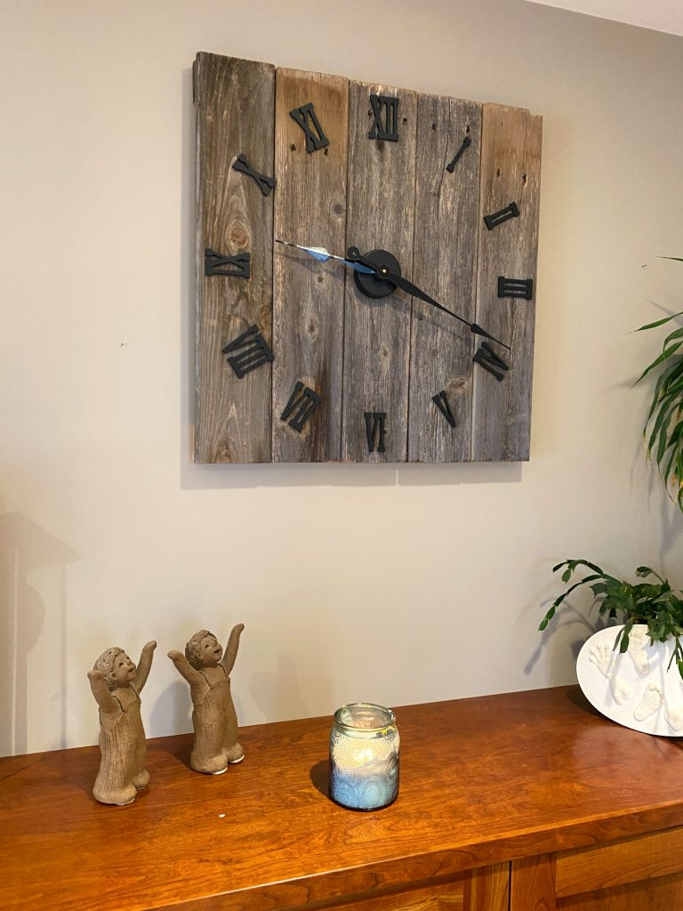 On the 6th anniversary-wood. Celebrating Husband's gift of strength to me--and this clock he crafted.